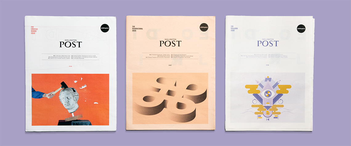 Tabloid newspapers by shillington on a lilac background