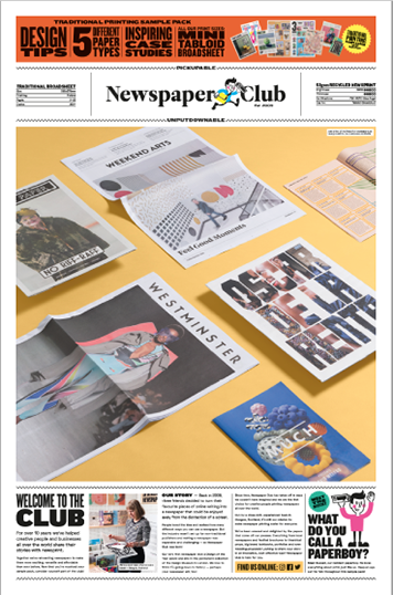 Front cover of Traditional Broadsheet 55gsm PDF sample