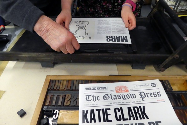 Newspaper Club joined up with Glasgow Press for Print Night, helping people print their names on personalised newspapers.